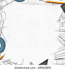 architect constructor designer background illustration