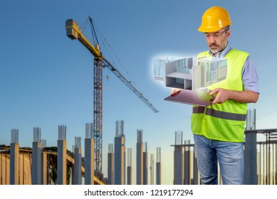 architect in costruction site with tablet displaying a hologram, 3d illustration