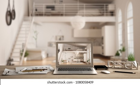 Architect designer desktop concept, laptop on wooden work desk with screen showing interior design project, blurred draft in the background, modern mezzanine loft idea template, 3d illustration