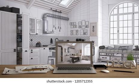 Architect designer desktop concept, laptop on wooden work desk with screen showing interior design project, blueprint draft in the background, modern kitchen idea template, 3d illustration