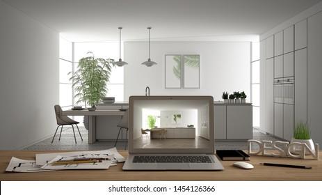 Architect designer desktop concept, laptop on wooden work desk with screen showing interior design project, blueprint draft background, modern white kitchen with wooden details, 3d illustration