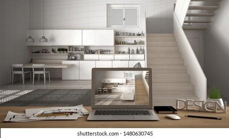 Architect designer desktop concept, laptop on wooden work desk with screen showing interior design project, blueprint draft background, modern white kitchen with wooden staircase, 3d illustration
