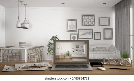 Architect designer desktop concept, laptop on wooden work desk with screen showing interior design project, blueprint draft background, modern white living room with sofa and carpet, 3d illustration