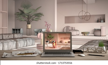 Architect designer desktop concept, laptop on wooden work desk with screen showing interior design project, blueprint draft background, colored contemporary living room, pastel colors, 3d illustration