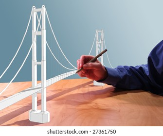 Architect drawing a suspension bridge in 3d on his desk