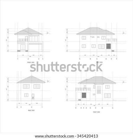 Architect Elevation Drawing Twostorey House Stock Illustration