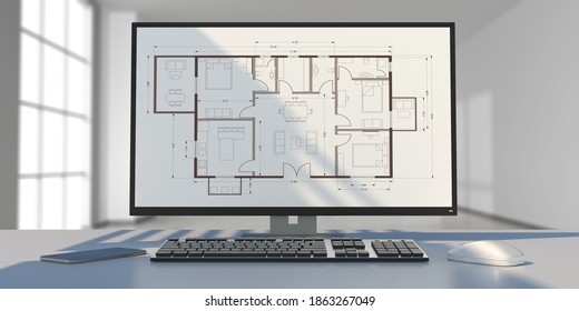 Architect engineer office desk. Building project blueprint plan on a computer screen. Real estate, housing project construction concept. 3d illustration
