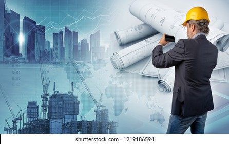 architect holding a smartphone and blueprints in urban background, 3d illustration