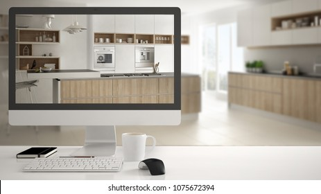 Architect house project concept, desktop computer on white work desk showing white wooden kitchen, minimalistic blurred interior design in the background, 3d illustration