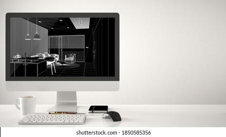 Architekturprojektkonzept, Desktop-Computer auf weißem Hintergrund, Arbeitstisch mit CAD-Skizze, moderne Küche mit Innenausstattung von Insel und Stühlen, 3D-Illustration