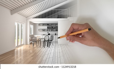 Architect interior designer concept: hand drawing a design interior project and writing notes, while the space becomes real, white wooden modern open space with mezzanine and kitchen, 3d illustration
