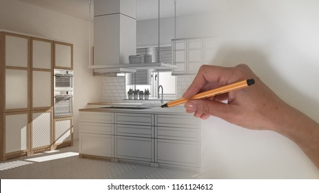 Architect interior designer concept: hand drawing a design interior project while the space becomes real, white wooden modern kitchen, 3d illustration