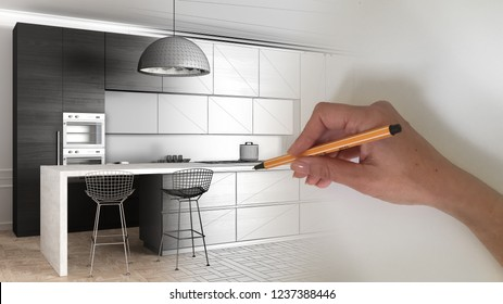 Architect interior designer concept: hand drawing a design interior project while the space becomes real, modern kitchen in classic apartment, cabinets, island and pendant lamp, 3d illustration