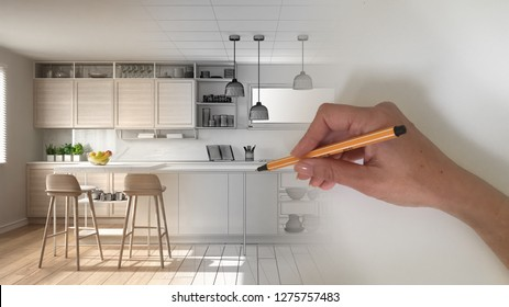 Architect interior designer concept: hand drawing a design interior project while the space becomes real, modern white and wooden kitchen with island and stools, 3d illustration