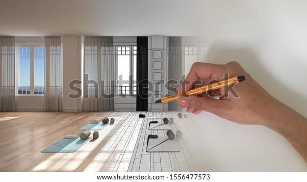 Architect Interior Designer Concept Hand Drawing Stock Illustration 1556477573