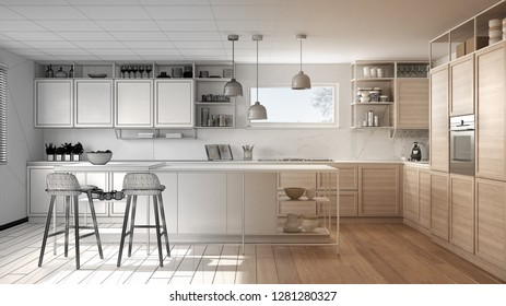 Architect interior designer concept: unfinished project that becomes real, kitchen with wooden details and parquet floor, minimalistic design idea, island with stools, 3d illustration
