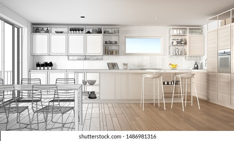 Architect interior designer concept: unfinished project that becomes real, penthouse kitchen interior design, island with stools, dining table, parquet, concept idea, 3d illustration