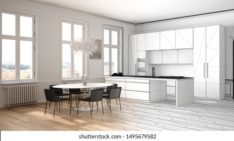 Architect interior designer concept: unfinished project that becomes real, kitchen in classic room, parquet, dining table, chairs, island and windows, modern architecture concept idea, 3d illustration
