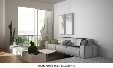 Architect interior designer concept: unfinished project that becomes real, living room with sofa, carpet and pillows, succulent plants, parquet, window, architecture interior design, 3d illustration