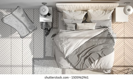 Architect interior designer concept: unfinished project that becomes real, minimalist bedroom, bed with pillows and blankets, parquet, bedside tables and carpet, top view, 3d illustration