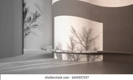 Design-Design-Konzept: unvollendetes Projekt, das zu einem echten, abstrakten, leeren Innern wird, brüchiger Hintergrund mit runden und gekrümmten Strukturen, Licht- und Baumschatten, Bank, 3D-Illustration