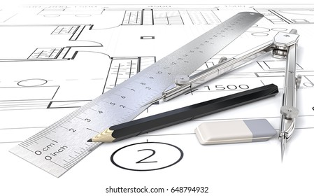Architect objects. Generic blueprints , drawings and sketches. Ruler, Pencil, Eraser and Divider of metal. 3D render.