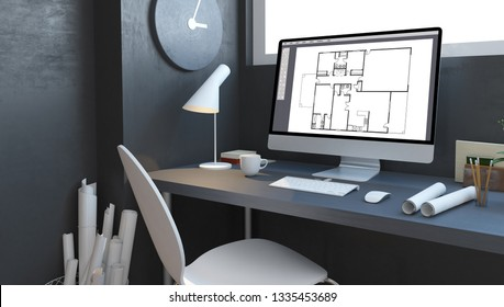 architect studio with computer 3d rendering mockup