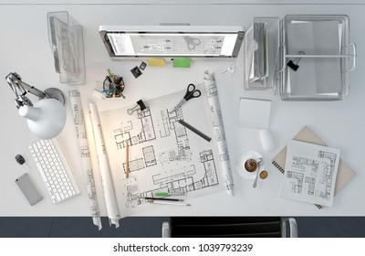 Architect working desktop with house drawings, computer, supplies, top view. 3D illustration