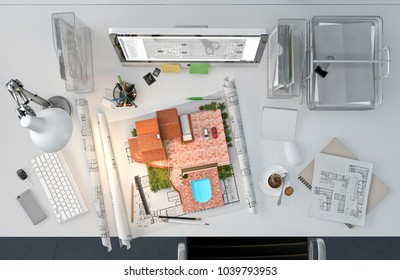 Architect working desktop with house model, drawings, computer, supplies, top view. 3D illustration