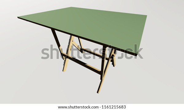 Architects Drawing Table House Model 3d Stock Illustration 1161215683
