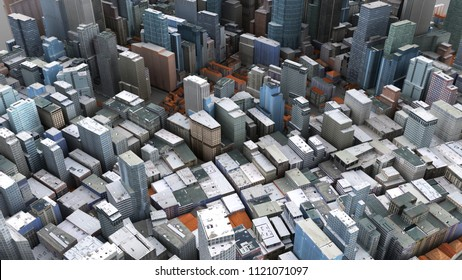 Architectural 3D model illustration of a large city on a whitebackground