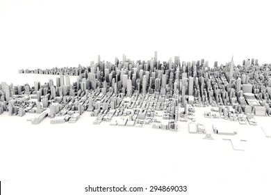 Architectural 3D model illustration of a large city on a white background.