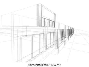 architectural abstraction - 3D rendering wire-frame.