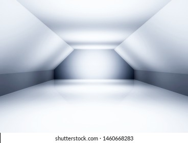 architectural background, blank room, empty wide hall - 3d illustration