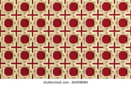 Architectural background with ornament on wall of interior. Red.