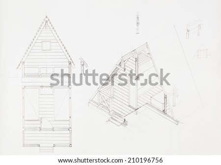 Attic drawing Old Wooden Architectural Blueprint Of House With Attic Drawn By Hand Kisspng Royalty Free Stock Illustration Of Architectural Blueprint House