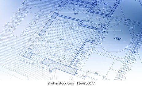 architectural blueprint - the architectural plan of a modern residential building with the layout of the interiors of different rooms, elements of furniture  equipment on a  technological background