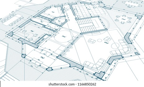 architectural blueprint - the architectural plan of a modern residential building