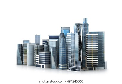 architectural building in panoramic view.  3D illustration