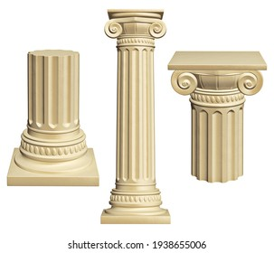 Architectural columns set -  isolated on white background. 3D Illustration