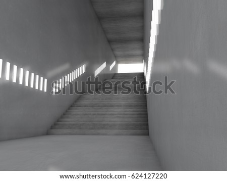 Architectural concept stairs d rendering stock illustration