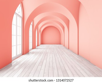 Architectural design of corridor with large windows in coral style. 3D illustration.