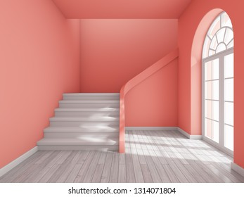 Architectural design of corridor with staircase and  large window in coral style. 3D illustration.