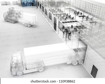 Architectural design of factory with offices, warehouse and shipping service.