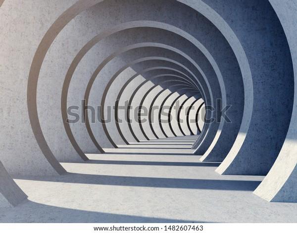 Architectural design of modern concrete tunnel, 3D illustration, rendering.