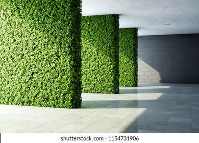 Architectural design of modern hall with vertical garden. 3D illustration.