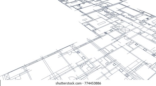 architectural drawing, 3d illustration