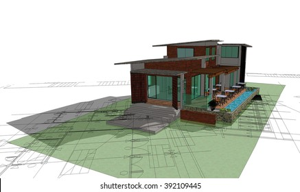 Architectural drawing of a house, autocad,3 D