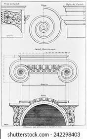 Architectural drawing for an Ionic capital by Italian Renaissance architect, Leon Battista Alberti (1404-1472) from his TEN BOOKS ON ARCHITECTURE. Ca. 1480.