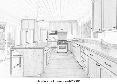 Architectural Drawing of wooden Kitchen - Illustration